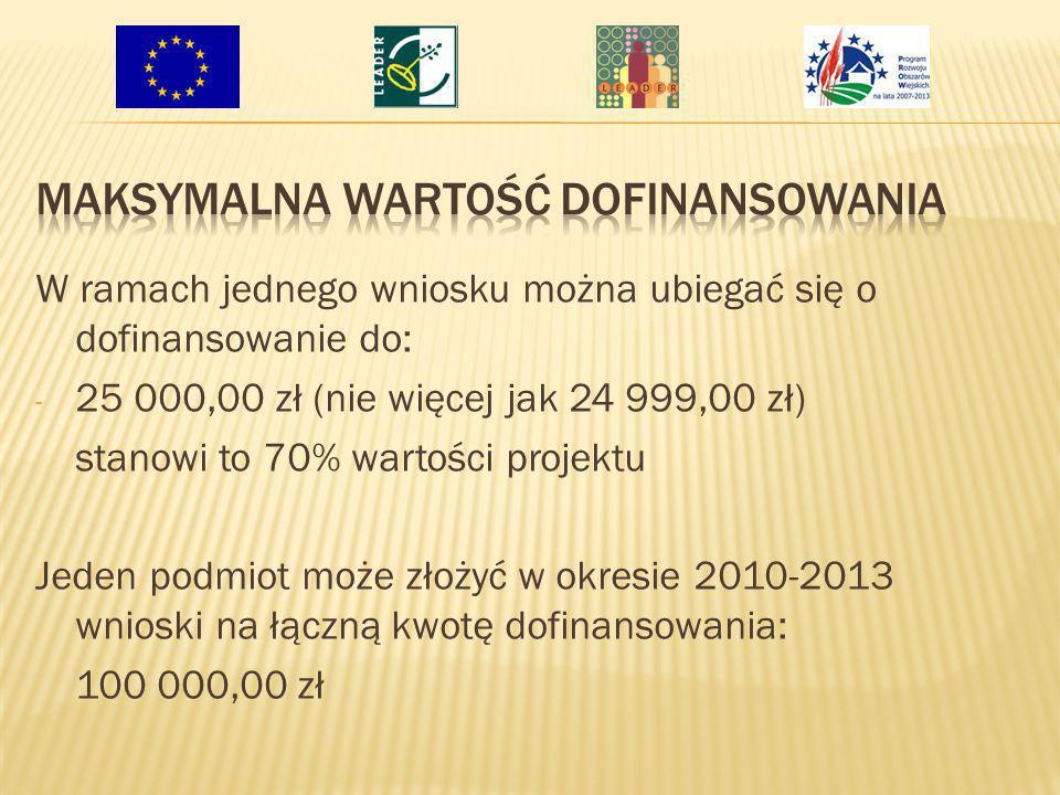 W ramach jednego wniosku można ubiegać się o dofinansowanie do: - 25 000,00 zł (nie więcej jak 24 999,00 zł) stanowi to 70% wartości projektu Jeden po