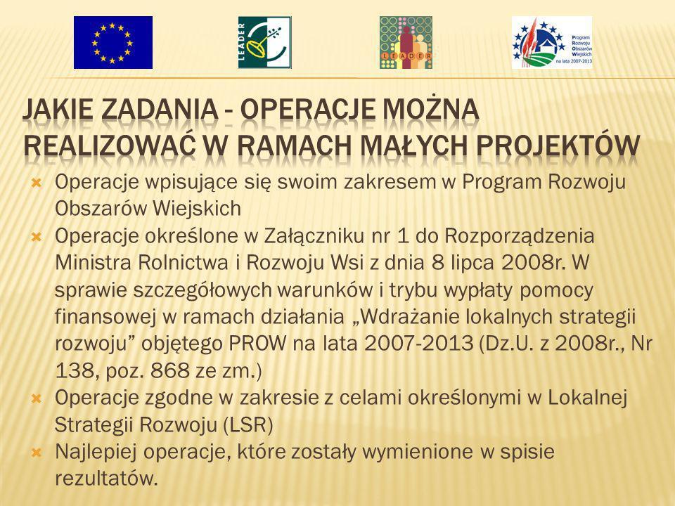 Operacje wpisujące się swoim zakresem w Program Rozwoju Obszarów Wiejskich Operacje określone w Załączniku nr 1 do Rozporządzenia Ministra Rolnictwa i