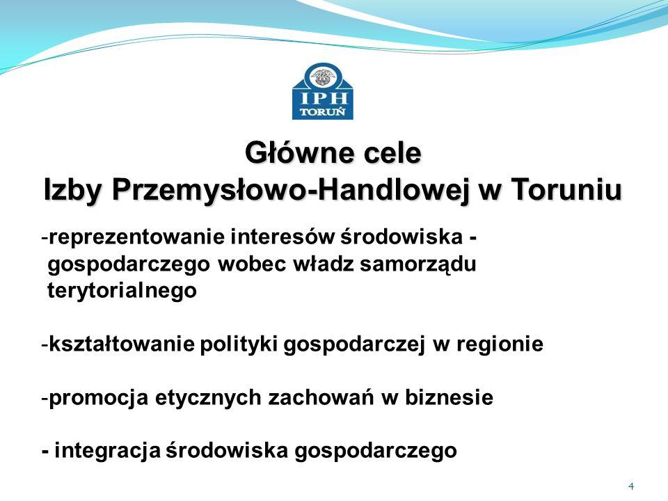 5 Główne cele Izby Przemysłowo-Handlowej w Toruniu - opiniowanie nowych uregulowań prawnych: centralnych (poprzez KIG) regionalnych - spotkania z przedstawicielami administracji i samorządu terytorialnego
