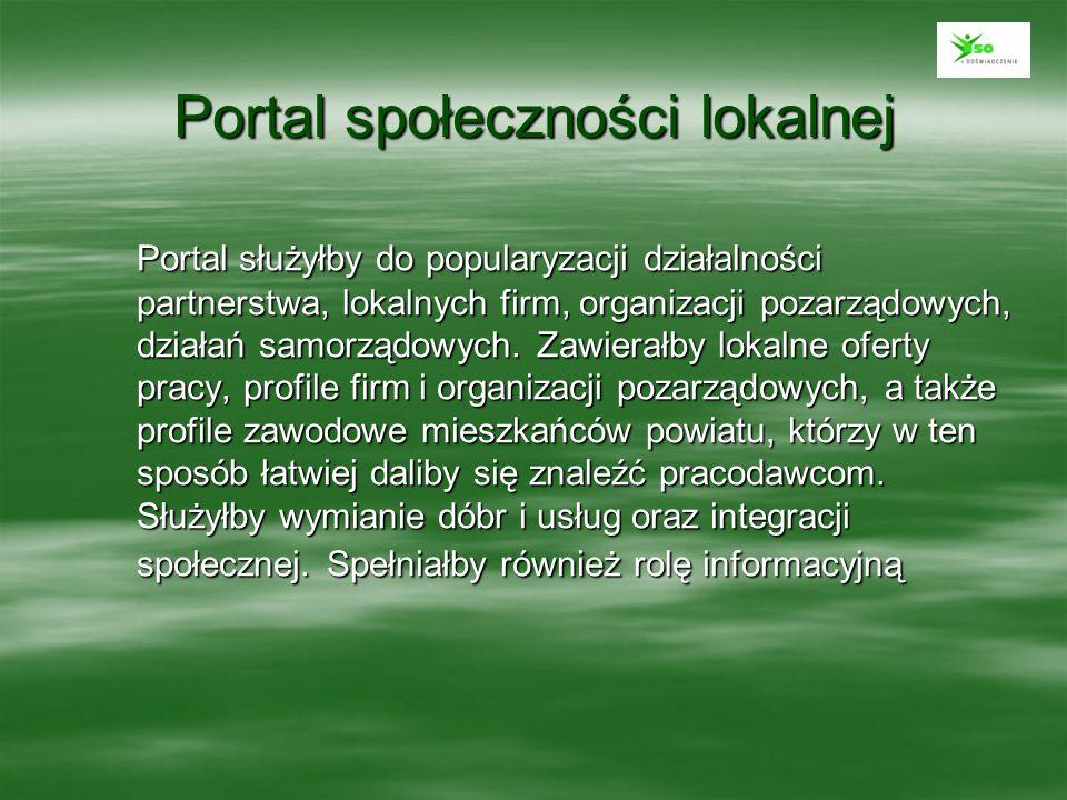 Portal społeczności lokalnej Portal służyłby do popularyzacji działalności partnerstwa, lokalnych firm, organizacji pozarządowych, działań samorządowy