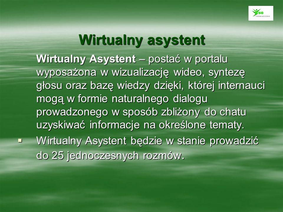 Wirtualny asystent Wirtualny Asystent – postać w portalu wyposażona w wizualizację wideo, syntezę głosu oraz bazę wiedzy dzięki, której internauci mog