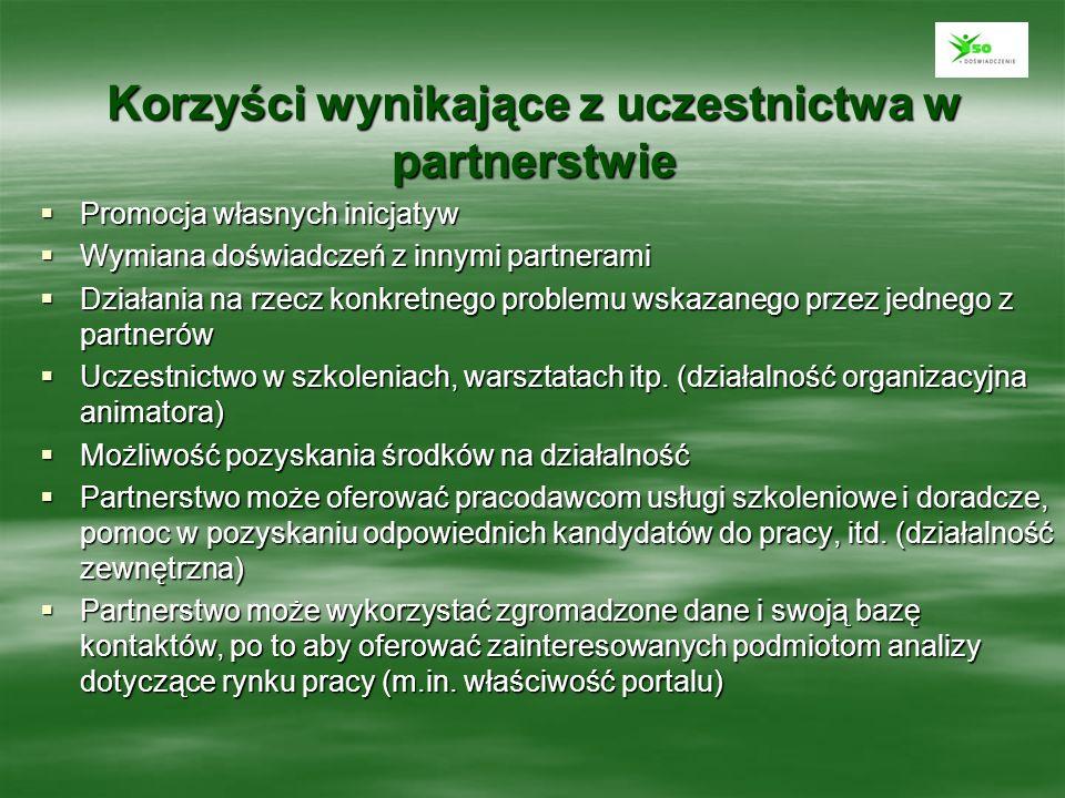 Korzyści wynikające z uczestnictwa w partnerstwie Promocja własnych inicjatyw Promocja własnych inicjatyw Wymiana doświadczeń z innymi partnerami Wymi