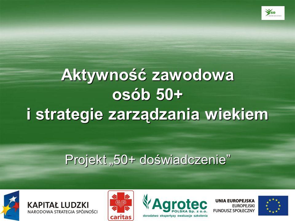 Demografia Obecnie osoby w wieku 50+ stanowią 34% ogółu ludności Polski, podczas gdy w 2040, według prognoz GUS, będzie ich aż 50%.