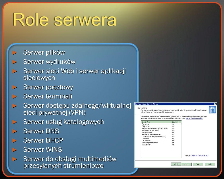 Serwer plików Serwer plików Serwer wydruków Serwer wydruków Serwer sieci Web i serwer aplikacji sieciowych Serwer sieci Web i serwer aplikacji sieciowych Serwer pocztowy Serwer pocztowy Serwer terminali Serwer terminali Serwer dostępu zdalnego/wirtualnej sieci prywatnej (VPN) Serwer dostępu zdalnego/wirtualnej sieci prywatnej (VPN) Serwer usług katalogowych Serwer usług katalogowych Serwer DNS Serwer DNS Serwer DHCP Serwer DHCP Serwer WINS Serwer WINS Serwer do obsługi multimediów przesyłanych strumieniowo Serwer do obsługi multimediów przesyłanych strumieniowo