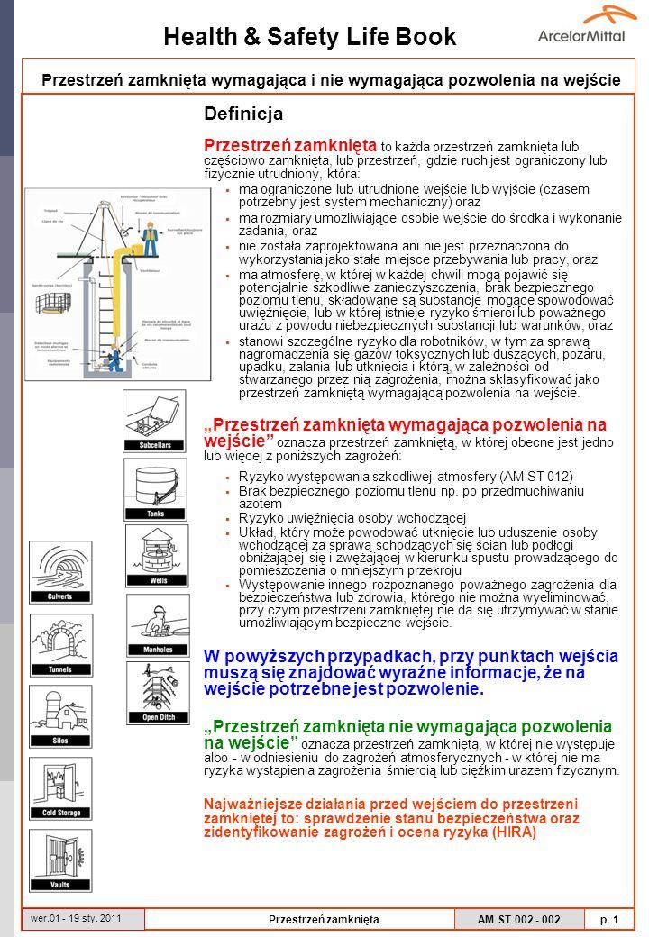 Health & Safety Life Book AM ST 002 - 002 p. 1 wer.01 - 19 sty. 2011 Przestrzeń zamknięta Przestrzeń zamknięta wymagająca i nie wymagająca pozwolenia