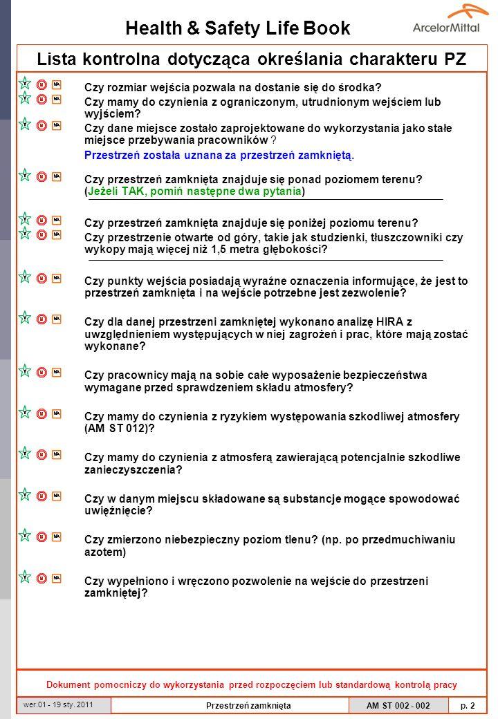 Health & Safety Life Book AM ST 002 - 002 p. 2 wer.01 - 19 sty. 2011 Przestrzeń zamknięta Lista kontrolna dotycząca określania charakteru PZ Czy rozmi