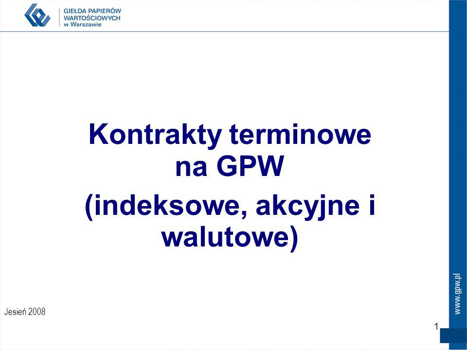11 Zmiana nazw skróconych kontraktów terminowych – obowiązuje od 22 września 2008 Struktura nowej nazwy skróconej wygląda obecnie następująco: FXYZkrr Gdzie: F – rodzaj instrumentu XYZ – skrót nazwy instrumentu bazowego (przykładowo W20 dla WIG20, USD dla kursu USD/PLN, TPS dla Telekomunikacji Polskiej) k – kod określający miesiąc wykonania kontraktu rr – DWIE OSTATNIE CYFRY ROKU WYGAŚNIĘCIA Przykłady: Kontrakt terminowy który poprzednio miał nazwę FW20Z8 nazywa się obecnie FW20Z08, gdzie z tym przypadku cyfry 08 będą wskazywały, że kontrakt wygasa w 2008 roku Kontrakt terminowy o nazwie przed 22 września 2008 FUSDH9 - FUSDH09 Kontrakt terminowy o nazwie przed 22 września 2008 FTPSZ8 - FTPSZ08