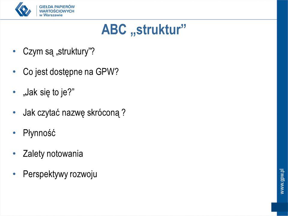 Produkty strukturyzowane na GPW – podsumowanie Obligacje strukturyzowane rynek akcji, pieniężny, nieruchomości, surowców indeksy np.