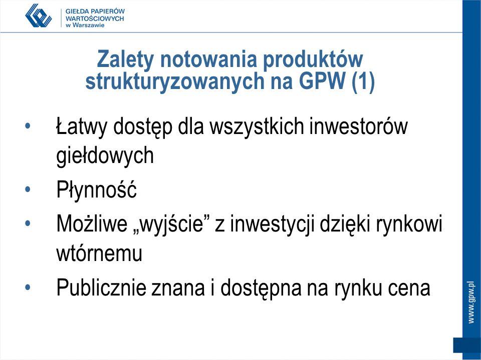 Zalety notowania produktów strukturyzowanych na GPW (1) Łatwy dostęp dla wszystkich inwestorów giełdowych Płynność Możliwe wyjście z inwestycji dzięki rynkowi wtórnemu Publicznie znana i dostępna na rynku cena