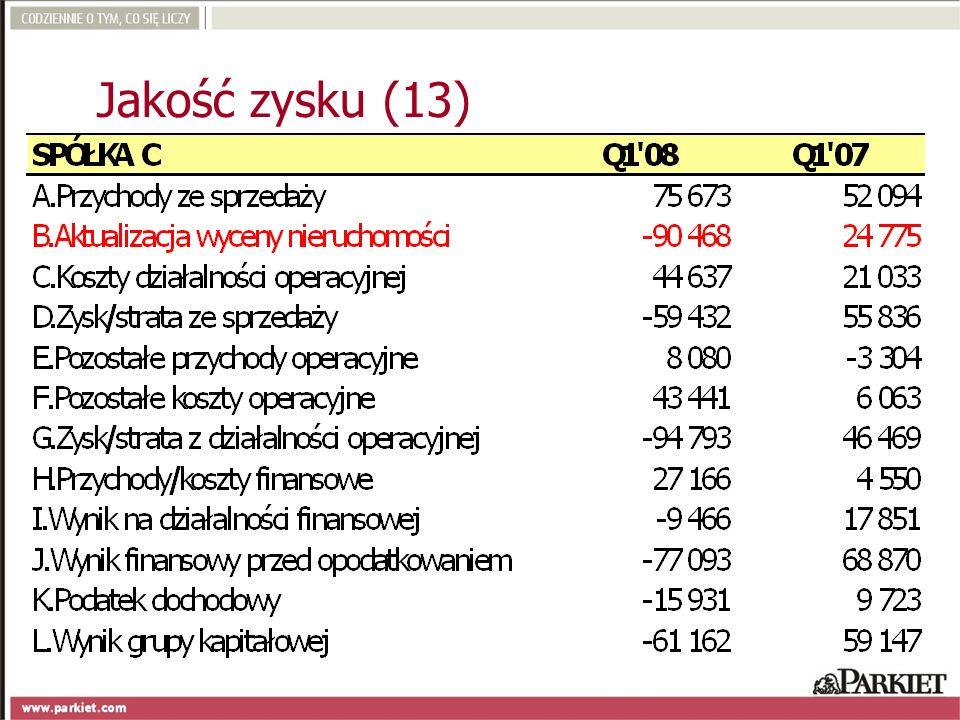 Jakość zysku (13)