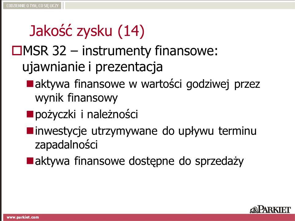 MSR 32 – instrumenty finansowe: ujawnianie i prezentacja aktywa finansowe w wartości godziwej przez wynik finansowy pożyczki i należności inwestycje u