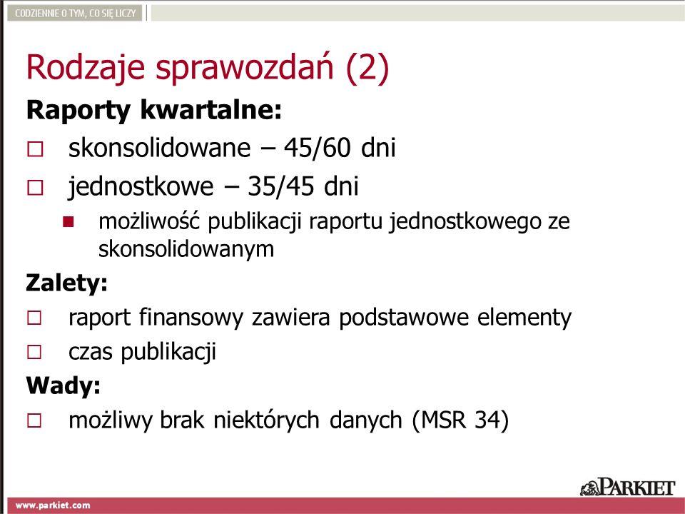 Rodzaje sprawozdań (2) Raporty kwartalne: skonsolidowane – 45/60 dni jednostkowe – 35/45 dni możliwość publikacji raportu jednostkowego ze skonsolidow