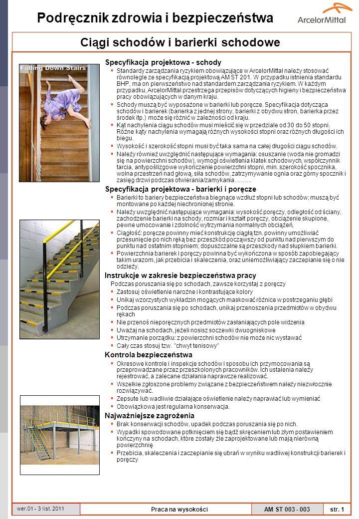 AM ST 003 - 003 Podręcznik zdrowia i bezpieczeństwa str. 1 wer.01 - 3 list. 2011 Praca na wysokości Specyfikacja projektowa - schody Standardy zarządz