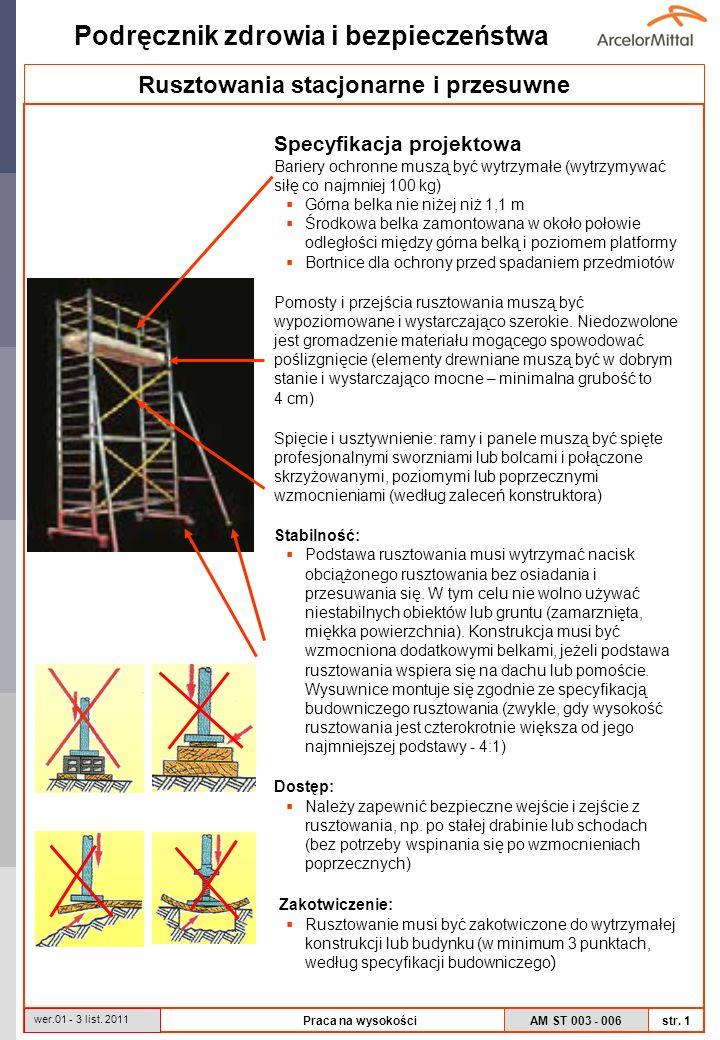 AM ST 003 - 006 Podręcznik zdrowia i bezpieczeństwa str. 1 wer.01 - 3 list. 2011 Praca na wysokości Specyfikacja projektowa Bariery ochronne muszą być