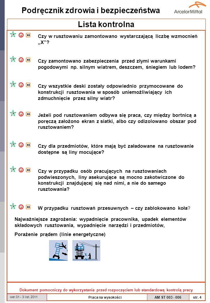 AM ST 003 - 006 Podręcznik zdrowia i bezpieczeństwa str. 4 wer.01 - 3 list. 2011 Praca na wysokości Lista kontrolna Dokument pomocniczy do wykorzystan