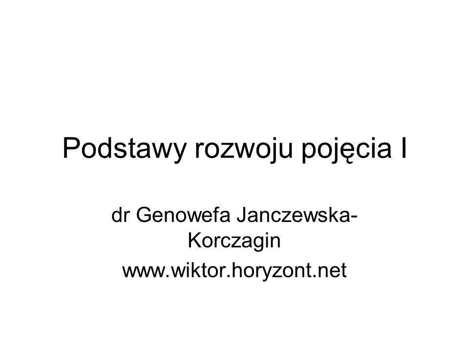 Podstawy rozwoju pojęcia I dr Genowefa Janczewska- Korczagin www.wiktor.horyzont.net