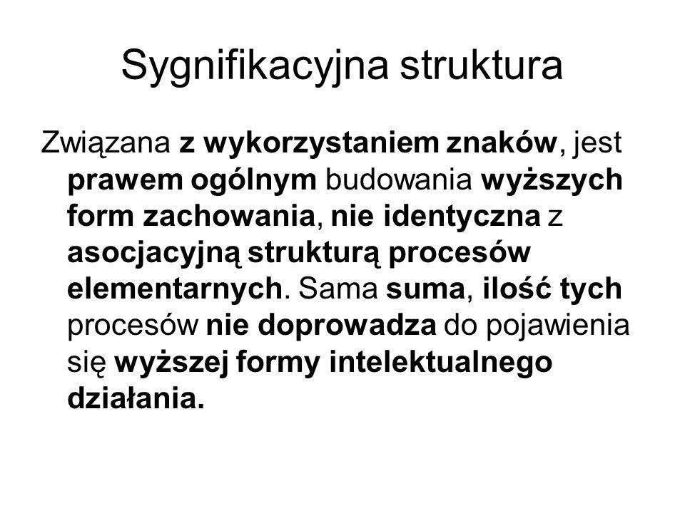 Sygnifikacyjna struktura Związana z wykorzystaniem znaków, jest prawem ogólnym budowania wyższych form zachowania, nie identyczna z asocjacyjną strukt