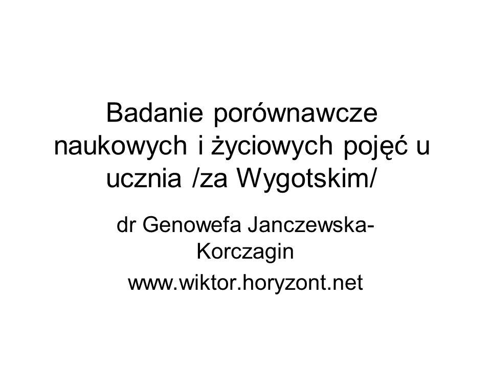 Badanie porównawcze naukowych i życiowych pojęć u ucznia /za Wygotskim/ dr Genowefa Janczewska- Korczagin www.wiktor.horyzont.net