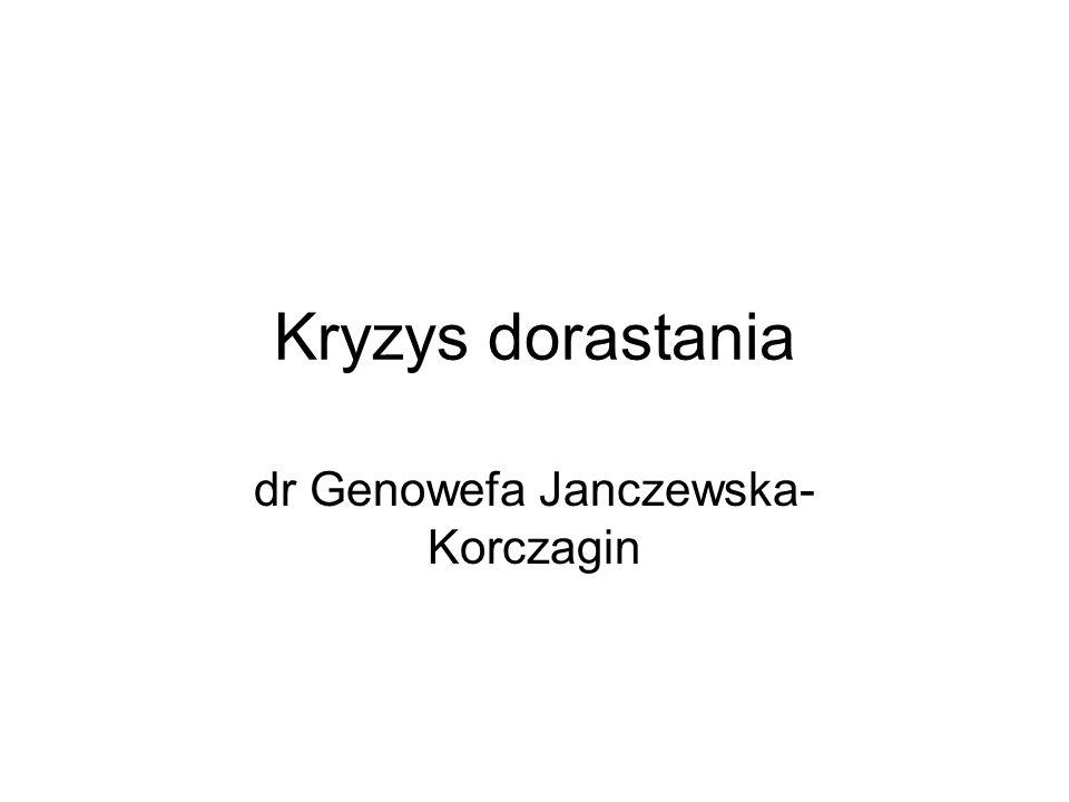 Kryzys dorastania dr Genowefa Janczewska- Korczagin