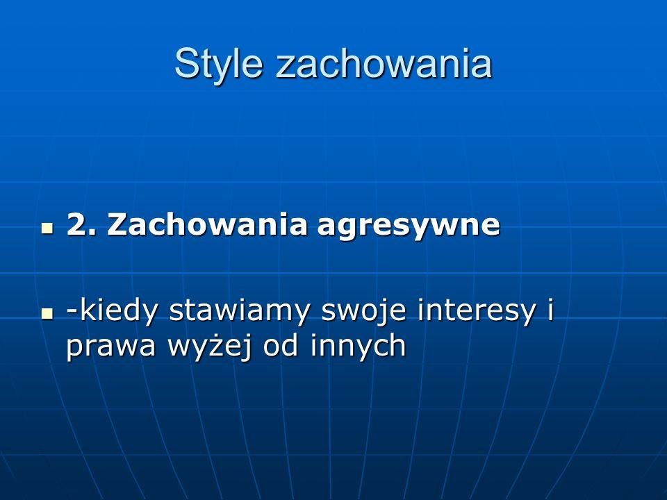Style zachowania 2.Zachowania agresywne 2.