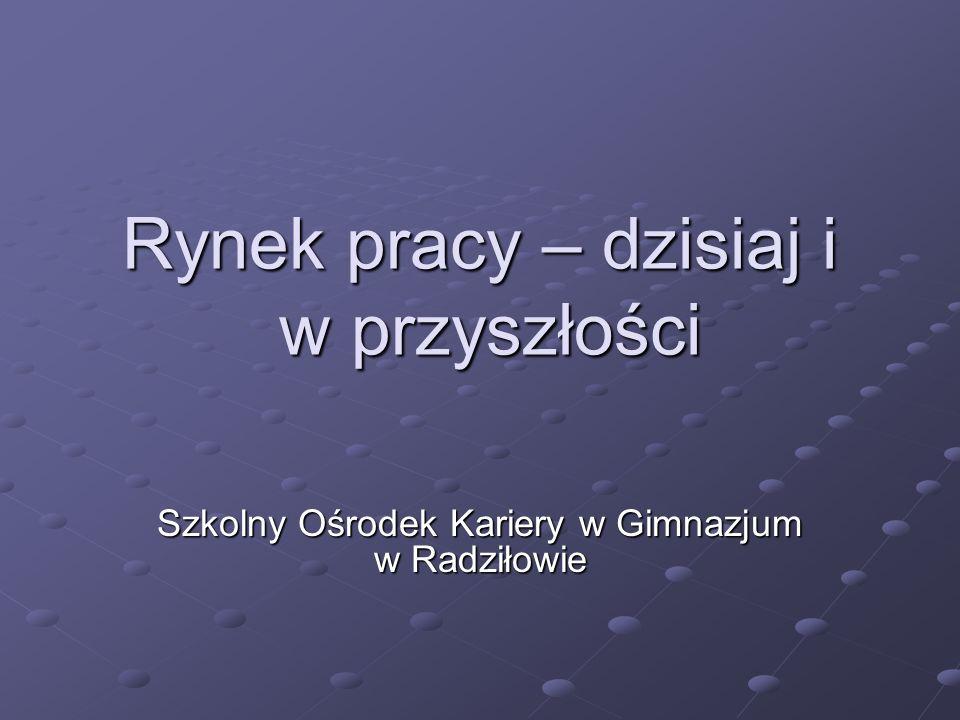 Rynek pracy – dzisiaj i w przyszłości Szkolny Ośrodek Kariery w Gimnazjum w Radziłowie