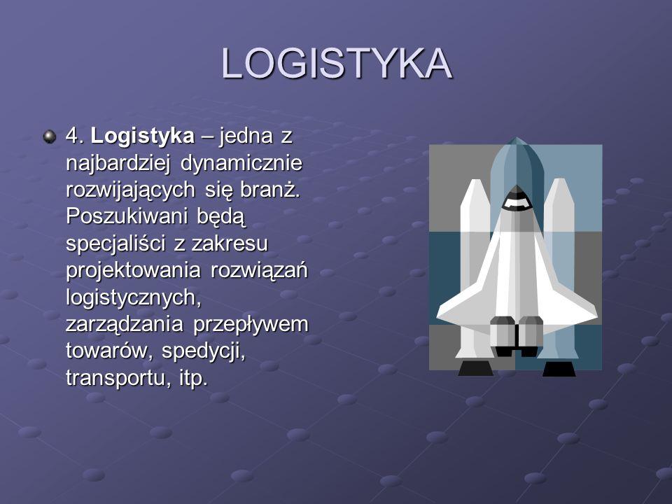 LOGISTYKA 4. Logistyka – jedna z najbardziej dynamicznie rozwijających się branż. Poszukiwani będą specjaliści z zakresu projektowania rozwiązań logis