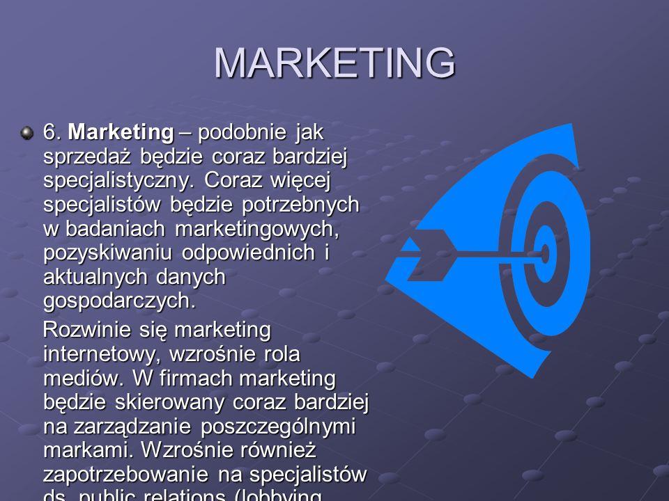 MARKETING 6. Marketing – podobnie jak sprzedaż będzie coraz bardziej specjalistyczny. Coraz więcej specjalistów będzie potrzebnych w badaniach marketi