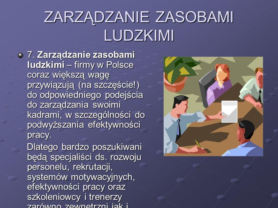 ZARZĄDZANIE ZASOBAMI LUDZKIMI 7. Zarządzanie zasobami ludzkimi – firmy w Polsce coraz większą wagę przywiązują (na szczęście!) do odpowiedniego podejś