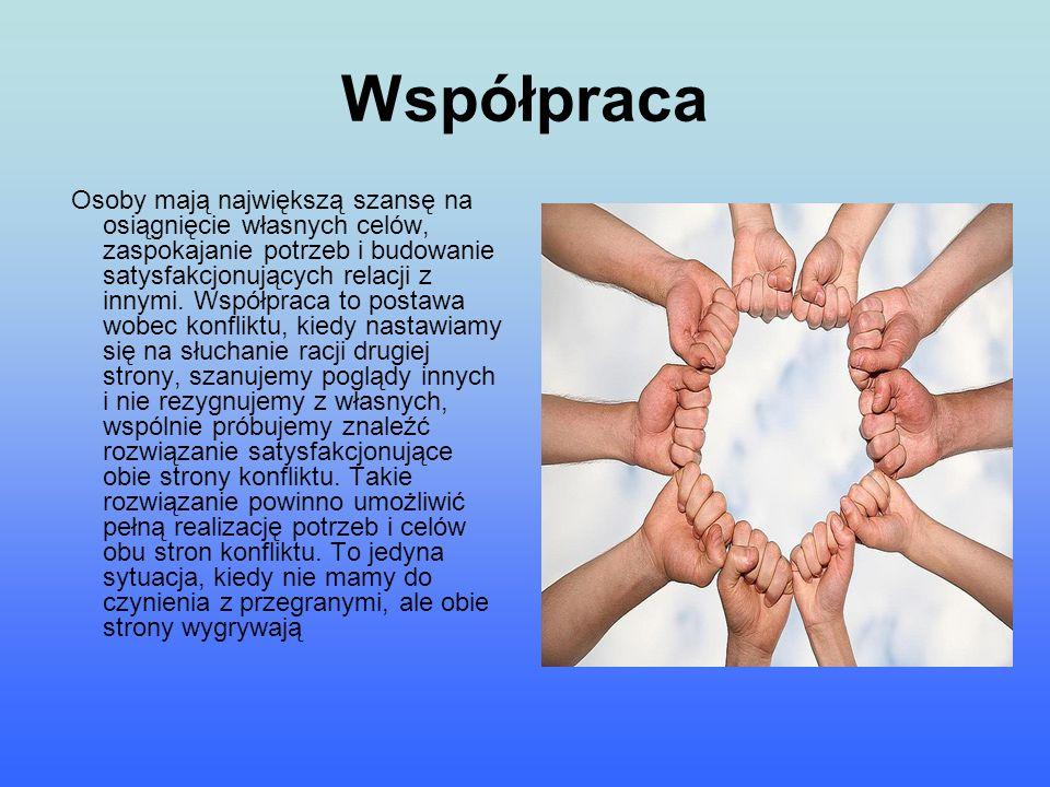 Współpraca Osoby mają największą szansę na osiągnięcie własnych celów, zaspokajanie potrzeb i budowanie satysfakcjonujących relacji z innymi. Współpra