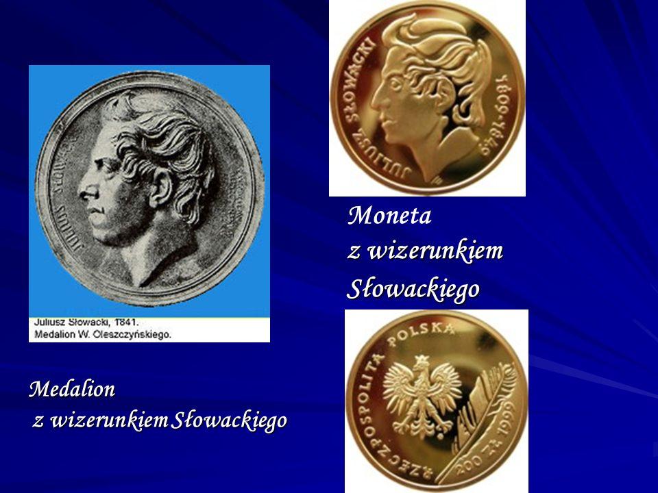 Medalion z wizerunkiem Słowackiego Medalion z wizerunkiem Słowackiego Moneta z wizerunkiem Słowackiego