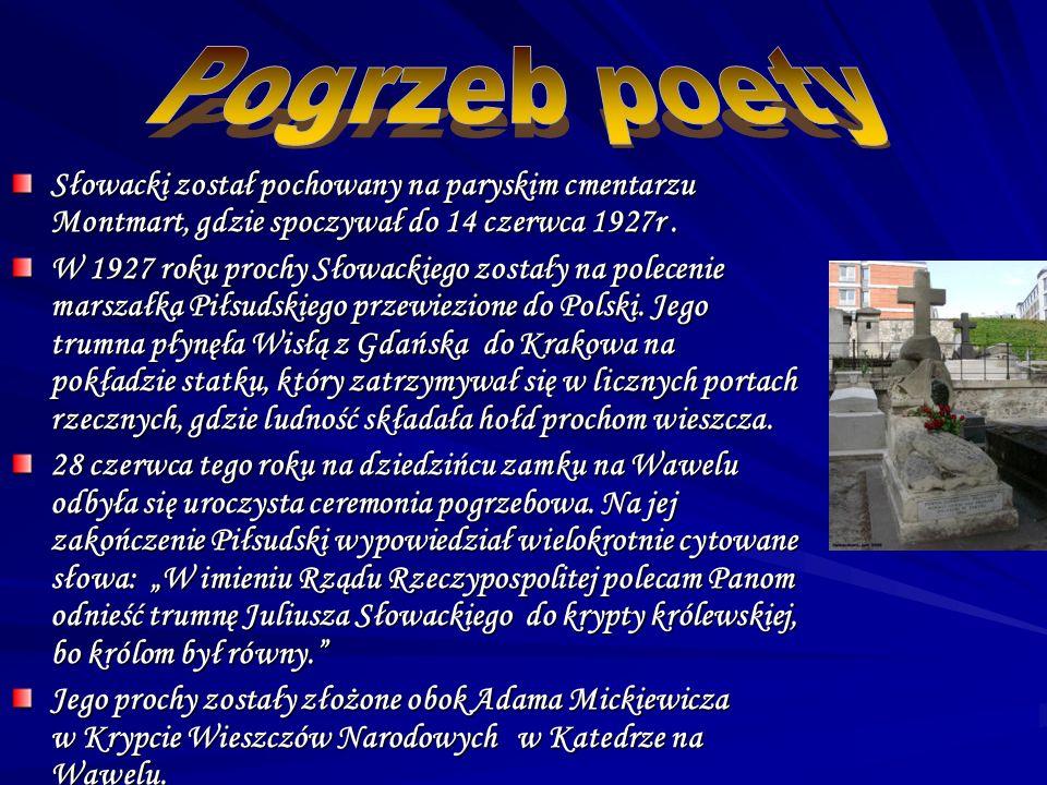 Był niedoceniany i zwalczany przez Adama Mickiewicza, który określił jego poezję jako piękny kościół, w którym nie ma Boga.