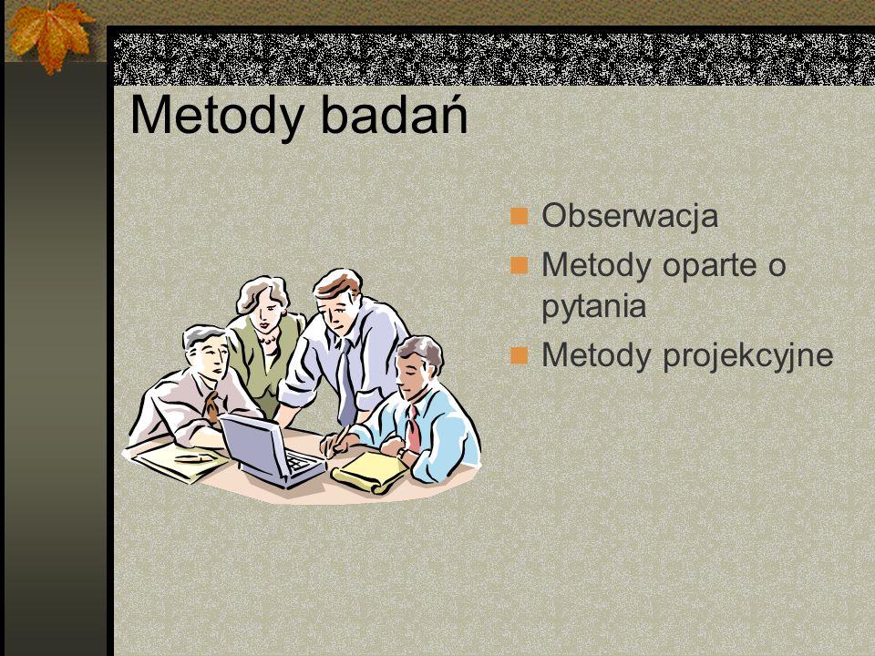 Metody badań Obserwacja Metody oparte o pytania Metody projekcyjne