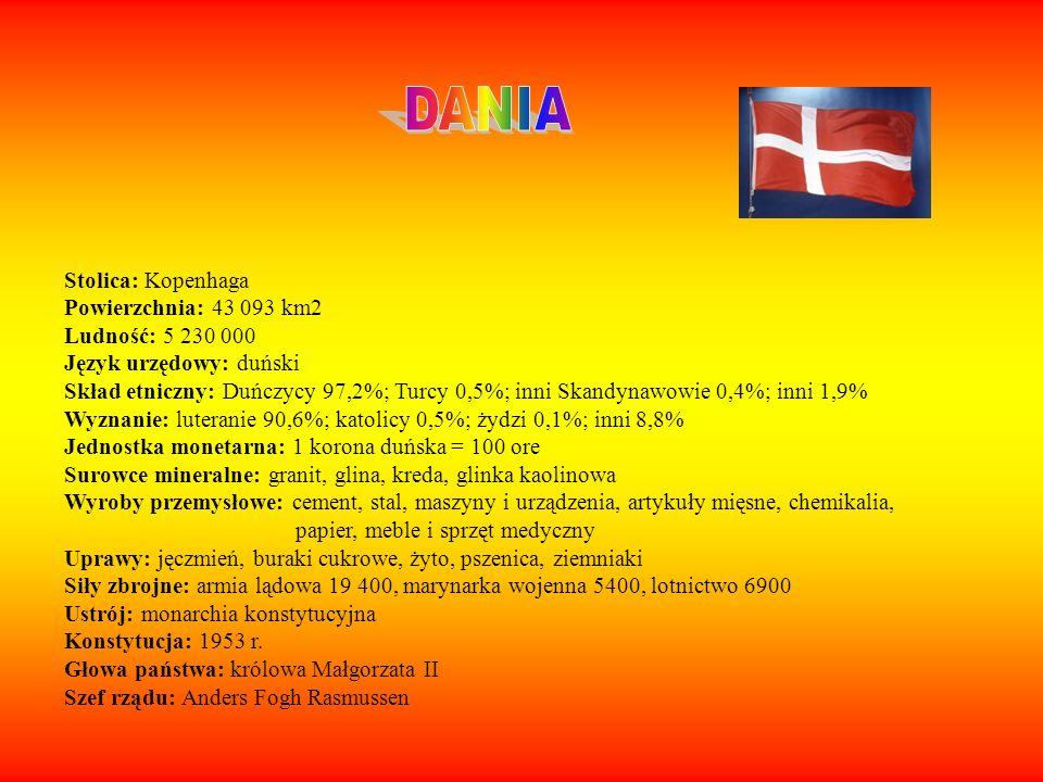 Stolica: Kopenhaga Powierzchnia: 43 093 km2 Ludność: 5 230 000 Język urzędowy: duński Skład etniczny: Duńczycy 97,2%; Turcy 0,5%; inni Skandynawowie 0
