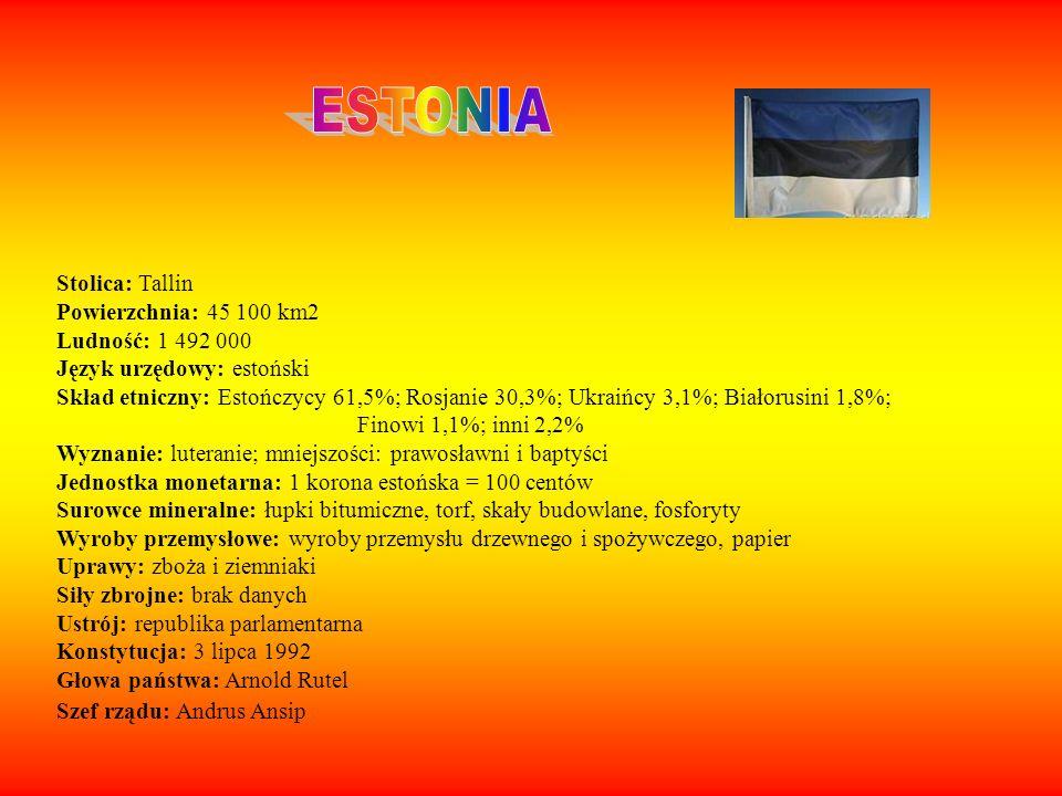 Stolica: Tallin Powierzchnia: 45 100 km2 Ludność: 1 492 000 Język urzędowy: estoński Skład etniczny: Estończycy 61,5%; Rosjanie 30,3%; Ukraińcy 3,1%;