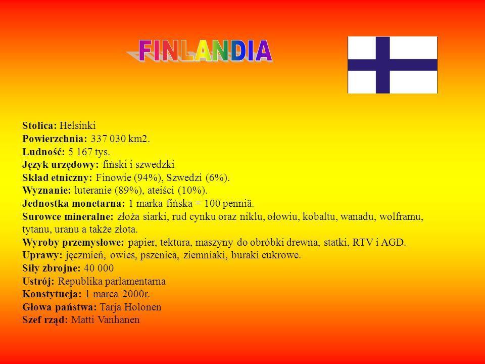Stolica: Helsinki Powierzchnia: 337 030 km2. Ludność: 5 167 tys. Język urzędowy: fiński i szwedzki Skład etniczny: Finowie (94%), Szwedzi (6%). Wyznan