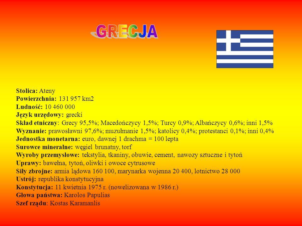 Stolica: Ateny Powierzchnia: 131 957 km2 Ludność: 10 460 000 Język urzędowy: grecki Skład etniczny: Grecy 95,5%; Macedończycy 1,5%; Turcy 0,9%; Albańc