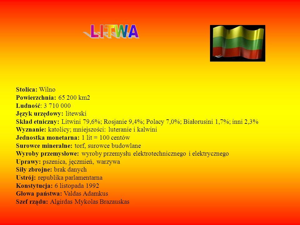 Stolica: Wilno Powierzchnia: 65 200 km2 Ludność: 3 710 000 Język urzędowy: litewski Skład etniczny: Litwini 79,6%; Rosjanie 9,4%; Polacy 7,0%; Białoru