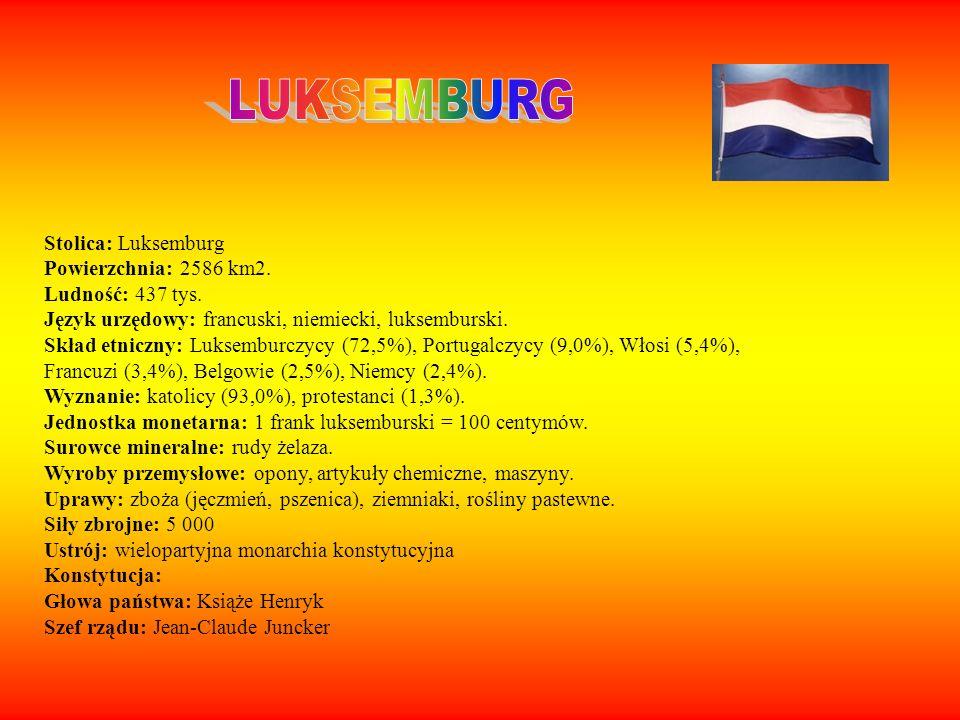 Stolica: Luksemburg Powierzchnia: 2586 km2. Ludność: 437 tys. Język urzędowy: francuski, niemiecki, luksemburski. Skład etniczny: Luksemburczycy (72,5