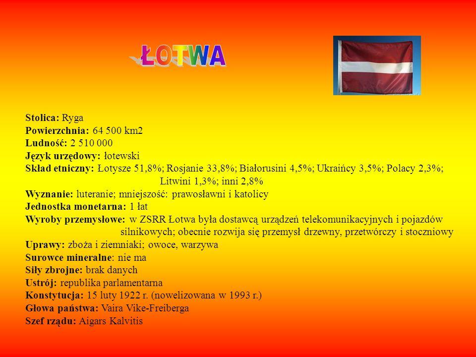 Stolica: Ryga Powierzchnia: 64 500 km2 Ludność: 2 510 000 Język urzędowy: łotewski Skład etniczny: Łotysze 51,8%; Rosjanie 33,8%; Białorusini 4,5%; Uk