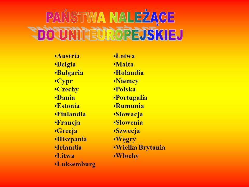 Austria Belgia Bułgaria Cypr Czechy Dania Estonia Finlandia Francja Grecja Hiszpania Irlandia Litwa Luksemburg Łotwa Malta Holandia Niemcy Polska Port