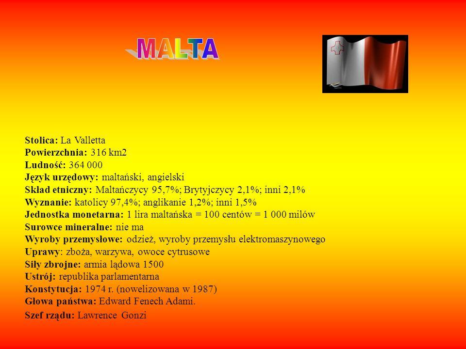 Stolica: La Valletta Powierzchnia: 316 km2 Ludność: 364 000 Język urzędowy: maltański, angielski Skład etniczny: Maltańczycy 95,7%; Brytyjczycy 2,1%;