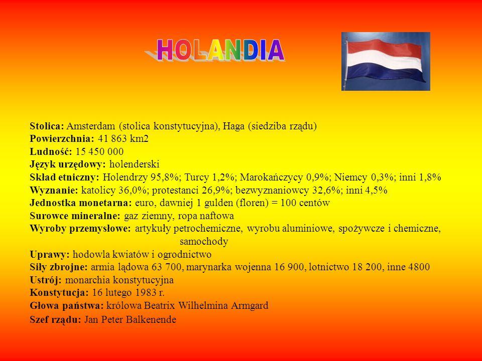 Stolica: Amsterdam (stolica konstytucyjna), Haga (siedziba rządu) Powierzchnia: 41 863 km2 Ludność: 15 450 000 Język urzędowy: holenderski Skład etnic