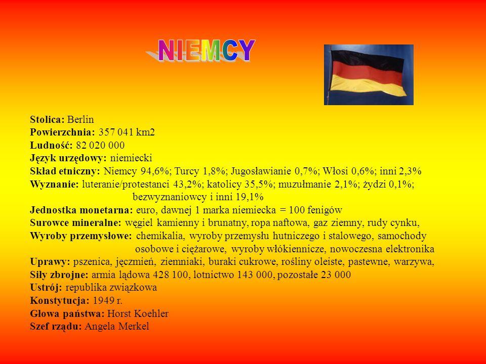 Stolica: Berlin Powierzchnia: 357 041 km2 Ludność: 82 020 000 Język urzędowy: niemiecki Skład etniczny: Niemcy 94,6%; Turcy 1,8%; Jugosławianie 0,7%;