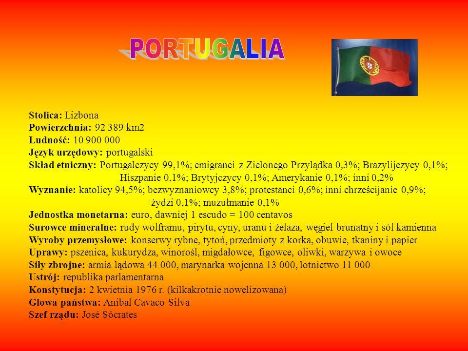 Stolica: Lizbona Powierzchnia: 92 389 km2 Ludność: 10 900 000 Język urzędowy: portugalski Skład etniczny: Portugalczycy 99,1%; emigranci z Zielonego P