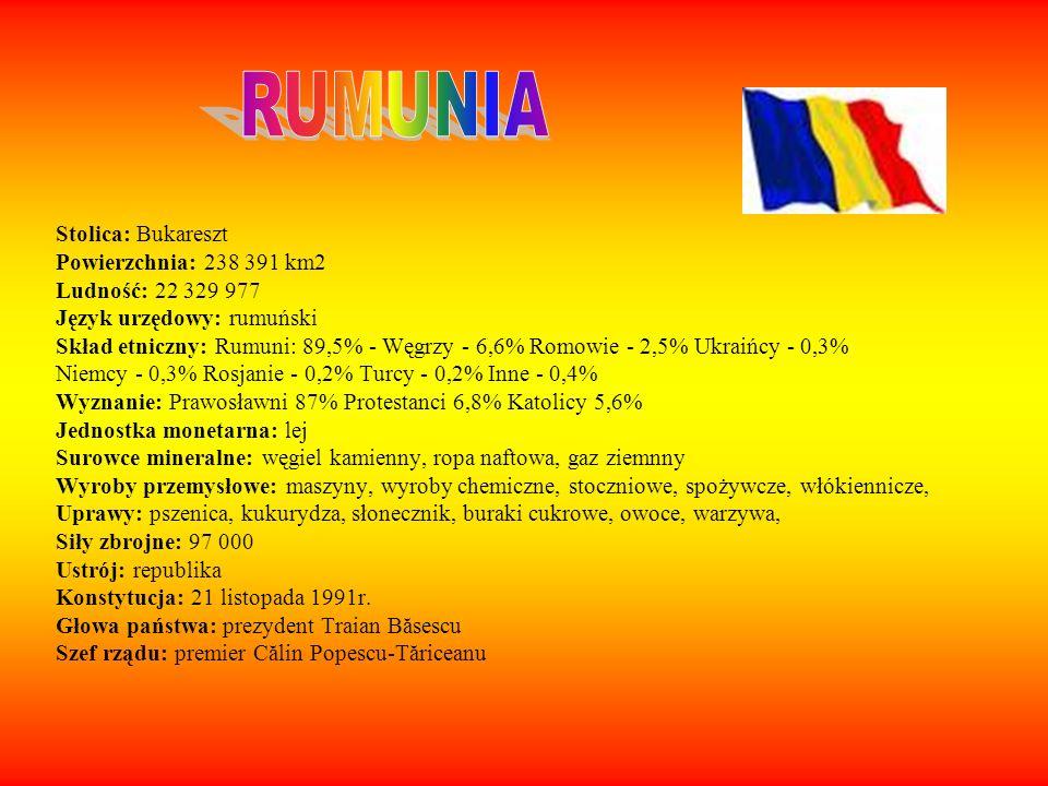 Stolica: Bukareszt Powierzchnia: 238 391 km2 Ludność: 22 329 977 Język urzędowy: rumuński Skład etniczny: Rumuni: 89,5% - Węgrzy - 6,6% Romowie - 2,5%
