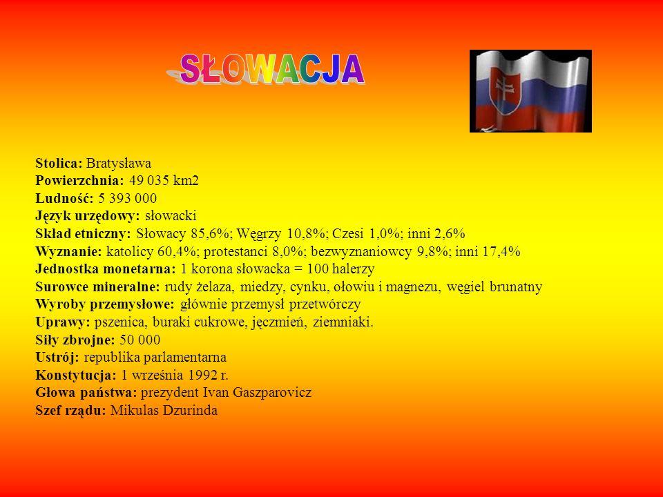 Stolica: Bratysława Powierzchnia: 49 035 km2 Ludność: 5 393 000 Język urzędowy: słowacki Skład etniczny: Słowacy 85,6%; Węgrzy 10,8%; Czesi 1,0%; inni