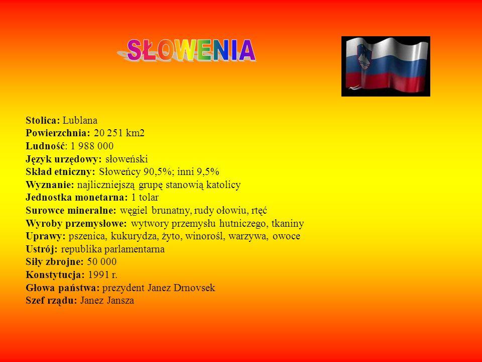 Stolica: Lublana Powierzchnia: 20 251 km2 Ludność: 1 988 000 Język urzędowy: słoweński Skład etniczny: Słoweńcy 90,5%; inni 9,5% Wyznanie: najliczniej