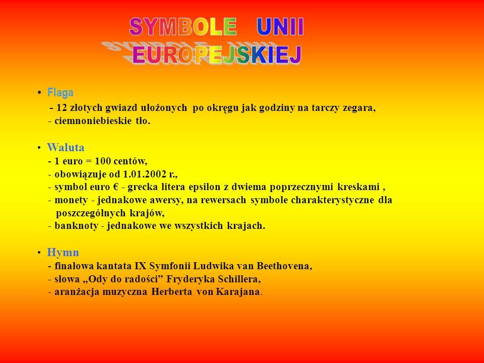 Flaga - 12 złotych gwiazd ułożonych po okręgu jak godziny na tarczy zegara, - ciemnoniebieskie tło. Waluta - 1 euro = 100 centów, - obowiązuje od 1.01