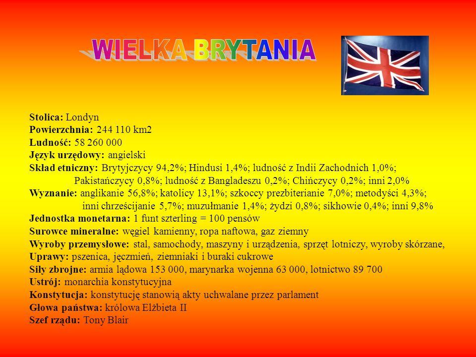 Stolica: Londyn Powierzchnia: 244 110 km2 Ludność: 58 260 000 Język urzędowy: angielski Skład etniczny: Brytyjczycy 94,2%; Hindusi 1,4%; ludność z Ind