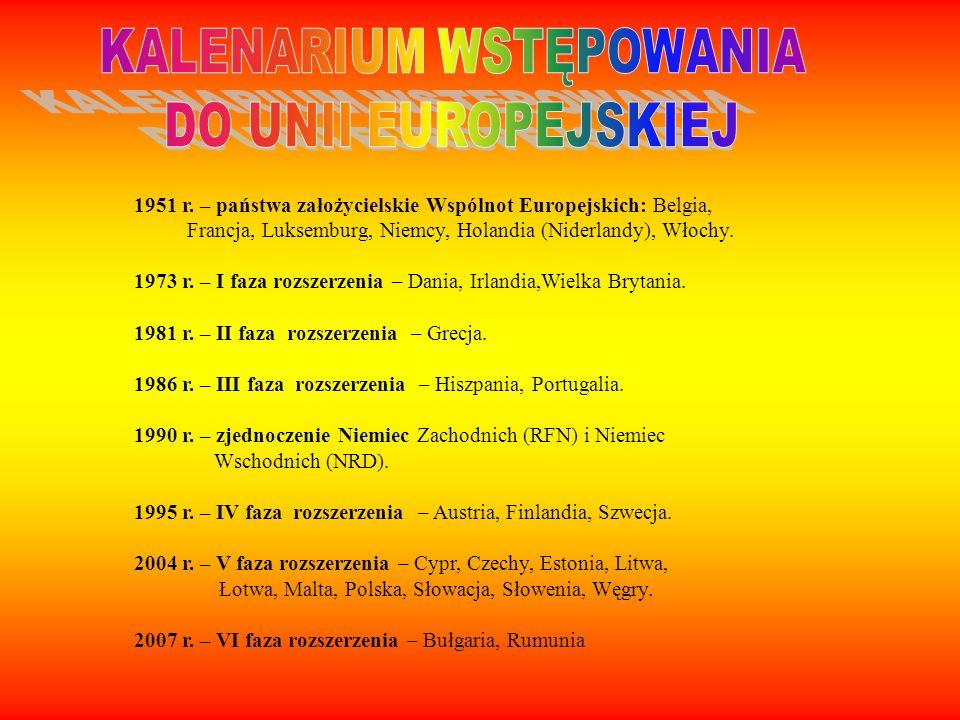 1951 r. – państwa założycielskie Wspólnot Europejskich: Belgia, Francja, Luksemburg, Niemcy, Holandia (Niderlandy), Włochy. 1973 r. – I faza rozszerze